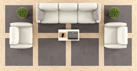 Top view of a modern living room with sofa, armchairs and wooden and concrete floor-3d rendering