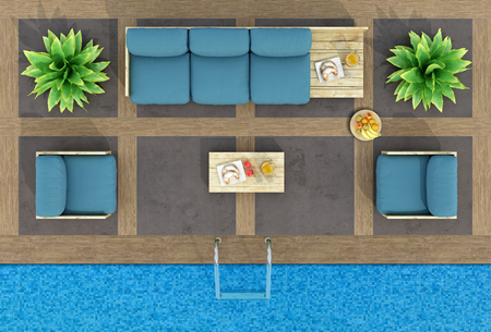 Photo pour Top view of pallet sofa and armchairs by the pool - 3d rendering - image libre de droit