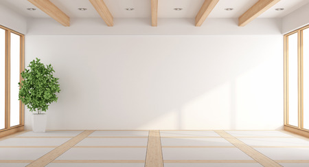 Photo pour Empty white living room with windows and wooden beams - 3d rendering - image libre de droit