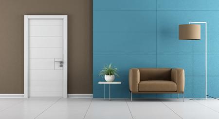 Foto de Contemporary home entrance with white door and leather armchair on blue wall paneling - 3d rendering - Imagen libre de derechos