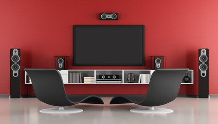 Photo pour Red and black Contemporary home cinema - 3d rendering - image libre de droit
