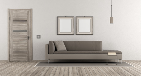 Photo pour Modern living room with wooden door and contemporary sofa on white wall - 3d rendering - image libre de droit
