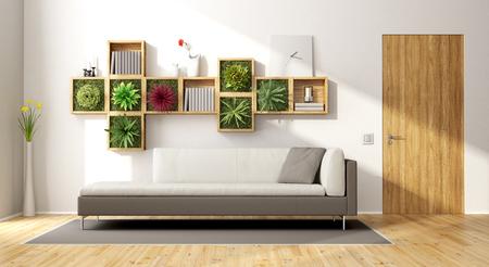Modern living room with vertical garden,sofa and wooden door - 3d rendering