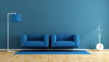 Foto de Blue living room with two armchair and floor lamp on wooden floor - 3d rendering - Imagen libre de derechos