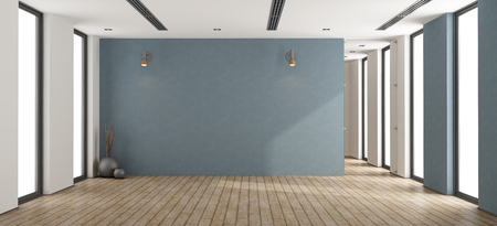 Photo pour Empty minimalist room with blue wall,glass door and windows - 3d rendering - image libre de droit