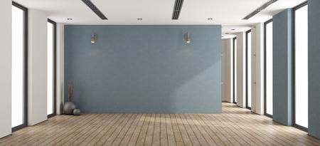 Foto de Empty minimalist room with blue wall,glass door and windows - 3d rendering - Imagen libre de derechos