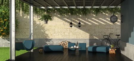 Photo pour Garden with iron pergola,footstool and hammock - 3d rendering - image libre de droit