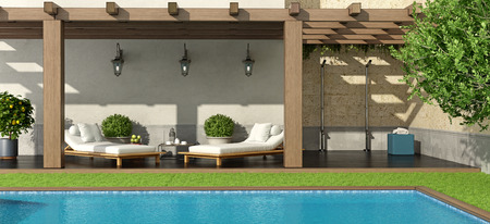 Photo pour Luxury garden with pergola and swimming pool - 3d rendering - image libre de droit