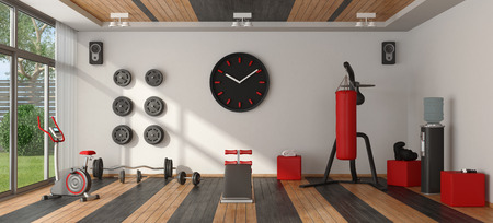 Photo for Home gym with punching bag,cyle and other fitness equipment - 3d rendering - Royalty Free Image