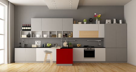 Photo pour Gray and white modern kitchen with red island - 3d rendering - image libre de droit