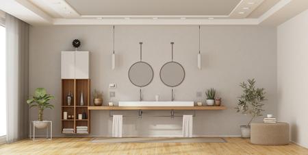 Photo pour Minimalist bathroom with double washbasin on wooden shelf - 3d rendering - image libre de droit