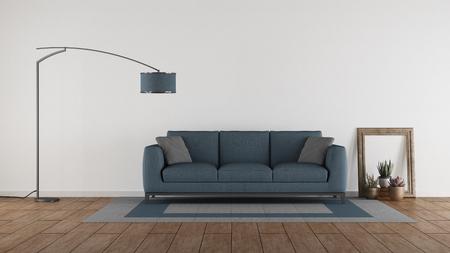 Photo pour Blue sofa in a minimalist living room against white wall - 3d rendering - image libre de droit