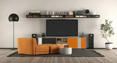 Foto de Modern living room with home cinema equipment.orange armchair and sideboard - 3d rendering - Imagen libre de derechos
