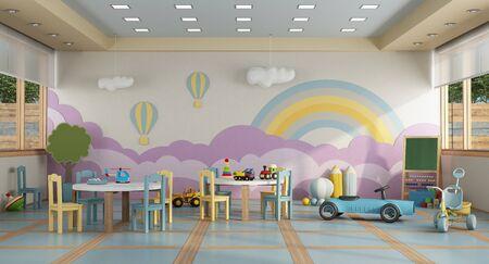 Foto de Colorful kindergarten class without childs ,school desk,chair,toy and decoration on background wall- 3d rendering - Imagen libre de derechos