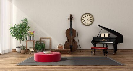 Photo pour Music room with grand piano and double bass , hardwood floor and white wall- 3d rendering - image libre de droit