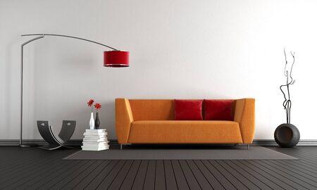 Photo pour Minimalist living room with orange sofa against white wall and black hardwood floor - 3d rendering - image libre de droit
