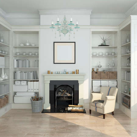 Photo for White winter  modern interior with armchair, fireplace. 3d render - Royalty Free Image