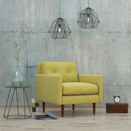 Photo for modern interior room with books, clock, lamps and yellow sofa, 3D render - Royalty Free Image