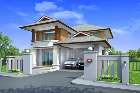 3d rendering, Exclusive two floor tropical modern house on the nature