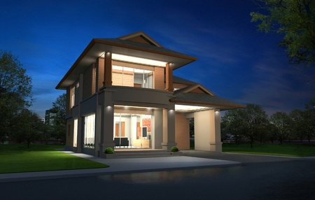 3d rendering, Exclusive two floor tropical modern house in night