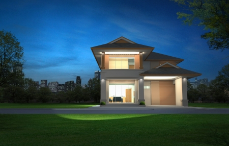 3d rendering, Exclusive two floor tropical modern house in night