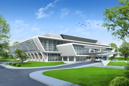 Photo pour 3D render of building - image libre de droit