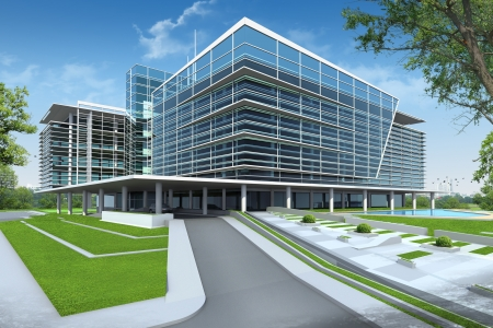 Photo pour 3D render of building - image libre de droit