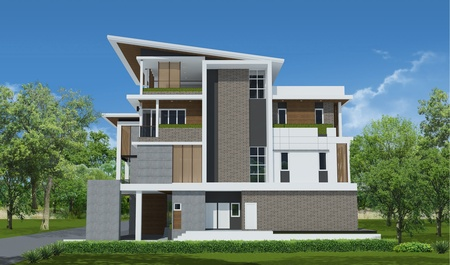 Foto de 3d rendering, Exclusive tropical modern house - Imagen libre de derechos