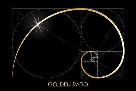 Ilustración de Golden ratio. Fibonacci number. Circles in golden proportion. Geometric shapes. Logo. Abstract vector background. Vector - Imagen libre de derechos