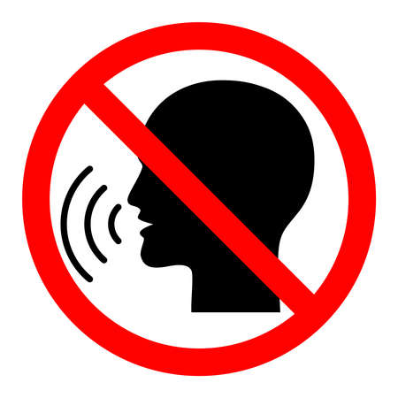 Illustration pour Sign stop talking. Red prohibition sign on black talking head. Isolated icon on white background. Vector - image libre de droit