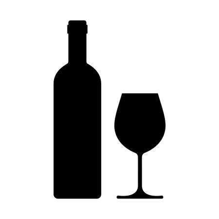 Illustration pour Wine bottle with wine glass icon isolated on white background. Vector illustration. - image libre de droit