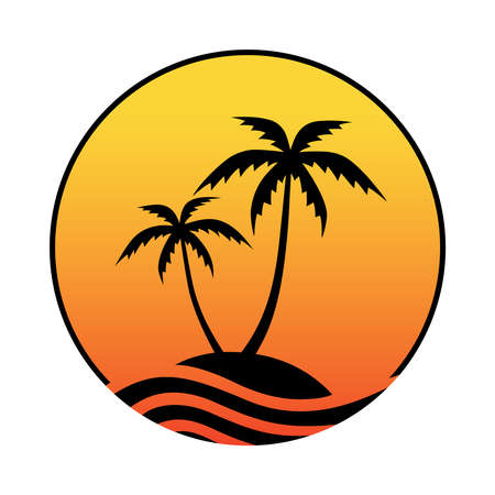 Illustration pour Resort logo with sea and coconut palms view. Icon tropical island. Vector illustration. - image libre de droit