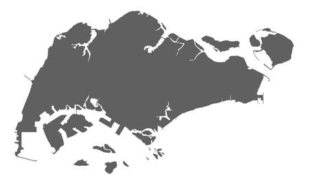 Illustration pour Very accurate blank map of Republic Singapore. Isolated grey blank map Singapore on white background. Flat vector illustration. - image libre de droit