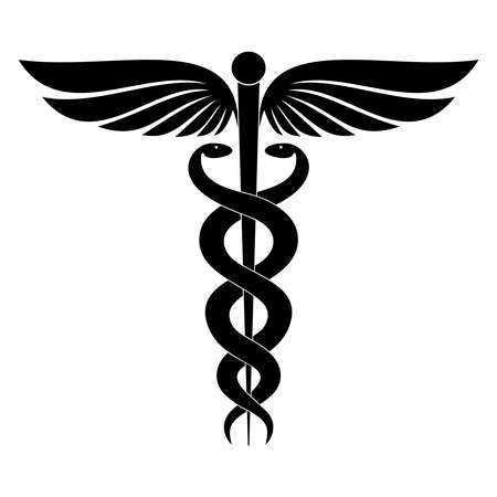 Ilustración de Modern sign of the caduceus. Symbol of medicine. The wand of Hermes with wings and two crossed snakes. Icon isolated on a white background. Vector illustration - Imagen libre de derechos