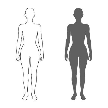 Female body silhouette and contour. Isolated symbols  on white background. Vector illustration