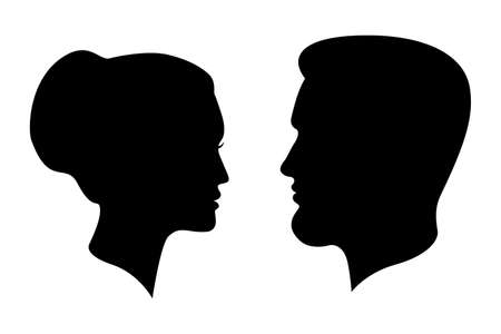 Illustration pour Man and woman silhouettes. Male and female profiles isolated on white background. People symbols. Vector illustration - image libre de droit
