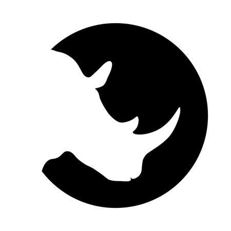 Ilustración de Rhino graphic icon. Rhinoceros head white silhouette in the black circle Isolated on white background. Vector illustration - Imagen libre de derechos