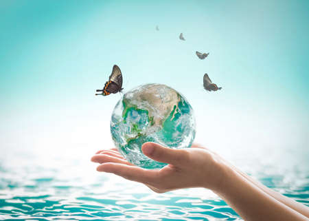 Photo for World ocean day,, saving water campaign, sustainable ecological ecosystems concept with green earth on woman's hands on blue sea background - Royalty Free Image