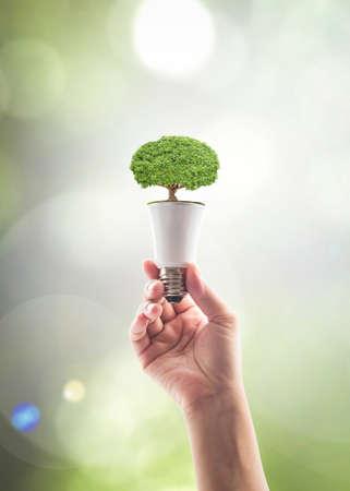 Photo pour Saving energy by eco friendly creative innovative technology design concept idea - image libre de droit