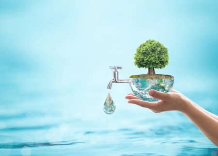 Photo pour World environmental ecology concept with rain forest tree planting on green globe with water faucet. - image libre de droit