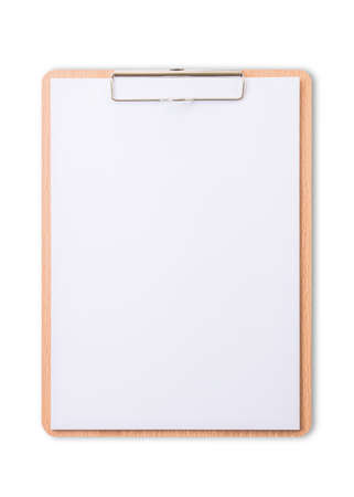Photo pour Clipboard note pad mock up with blank A4 size white page paper isolated on white background  for business and education mockup template - image libre de droit