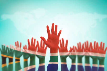 Foto de South Africa national flag on leader's palms  (clipping path) isolated for human rights, leadership, reconciliation concept - Imagen libre de derechos
