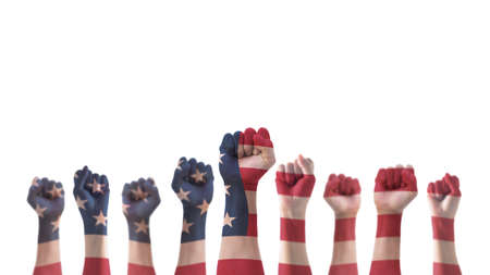 Photo pour Labor day celebration concept with USA national flag on American people clenched fist hand (isolated with clipping path) for United States of America happy national holiday - image libre de droit