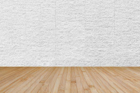 Photo for Wooden floor in yellow brown with granite stone brick tile wall aged texture pattern background in white grey color - Royalty Free Image