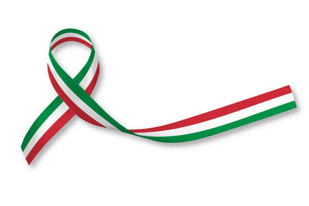 Photo for National flag ribbon pattern on white background for Italy nation support or Mexico holiday festival in Cinco de Mayo - Royalty Free Image