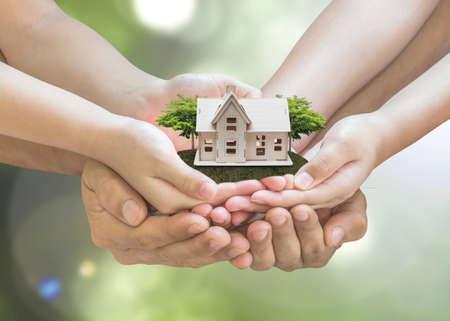 Photo pour Home loan, car insurance, family assurance protection, and private property legacy planning concept - image libre de droit