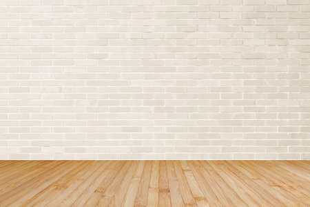 Photo for Cream brown brick wall textured background with wooden floor in yellow brown for interiors - Royalty Free Image
