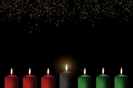 Photo pour Kwanzaa holiday background with candle light of seven candle sticks in black, green, red symbolising 7 principles of African Heritage (Nguzo Saba) for African-American cultural celebration - image libre de droit