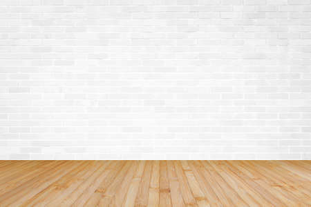 Photo for White brick wall with wooden floor textured background in yellow brown color - Royalty Free Image