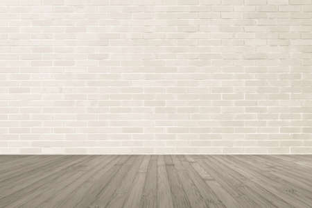 Photo for Cream brown brick wall textured background with wooden floor in sepia brown for interiors - Royalty Free Image